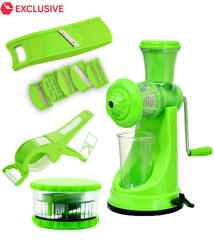 S M Kitchen Tools Combo Green Premium Fruit Juicer + 6 In 1 Vegetables Slicer + 2 In 1 Multi Vegetable cutter Cum Peeler + Garlic Crusher OR Dicer