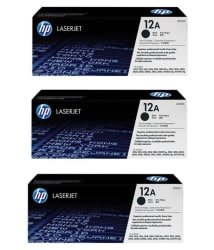 laserjet Hp 12A Black Toner Cartridge Pack of 3