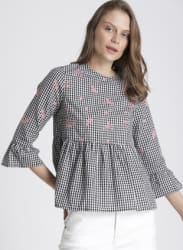 Black Checked A-Line Top