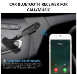 Clip On 3.5mm Bluetooth Audio Jack Receiver With Mic For Car Kit Compatible For Android & iOS (Assorted Colors Available)