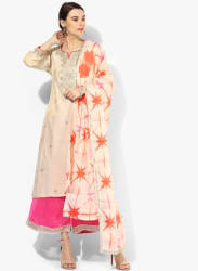 Beige Embroidered Poly Cotton Palazzo Kameez Dupatta