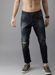 Blue Regular Fit Mid-Rise Slash Knee Stretchable Jeans