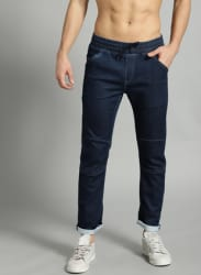 Navy Blue Mid-Rise Jogger Jeans
