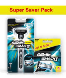 Gillette Mach3 Razor + 4 Cartridges