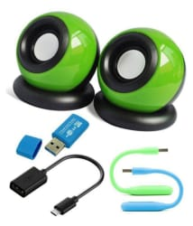AVALIK AV_5in1_Combo mini Speakers for Laptop, PC, Tablets, Mobiles with OTG Cable, Card Reader, USB Led Light- Green