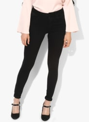 Black Washed Skinny Fit Mid-Rise Jeans