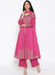 Pink Embroidered Anarkali Kurta with Palazzos & Dupatta