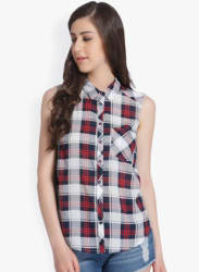 White & Navy Blue Regular Fit Checked Casual Shirt