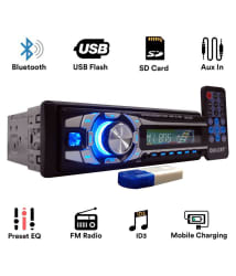 Dulcet DC-1199D Detachable Panel Single Din MP3 Car Stereo with USB Bluetooth Dongle for Wireless Music & Premium 3.5mm AUX Cable