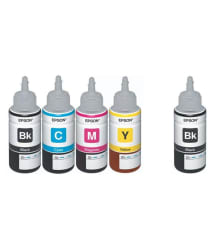 Epson Ink All Colors + Black Extra 70 Ml Each For L100/L110/L200/L210/L300/L350/L355/L550