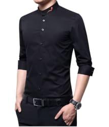 pearl ocean Black Slim Fit Shirt Single