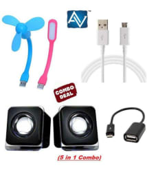 Avalik 5 in 1 Laptop/Desktop Speakers with USB Light, USB Fan, OTG Cable and Charging/Data Cable (Assorted Color)