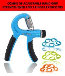 FITLETHIC Hand Grip Strengthener, Finger Exerciser, Fitlethic 5 KG - 60 KG Adjustable Hand Gripper Tools with Pack of 3 Strength Finger Exercise Bands - for Men, Women, Kids [4-Pack Combo]