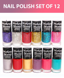 Makeup Mania Exclusive Set of 12 Trendy Nail Polish Blue, Silver, Pink Multi Glossy 72 mL