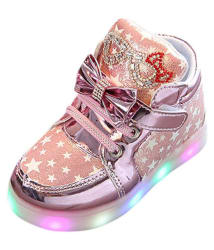 Passion Petals Baby Girl Pink Star LED Shoes (Pink)