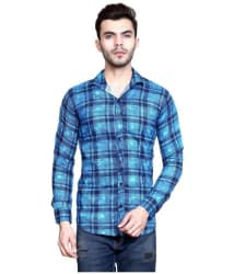MESH Blue Regular Fit Shirt Single