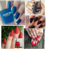 Juice Matte Nail Polish- Red, Blue & Black Color (Set of 3)