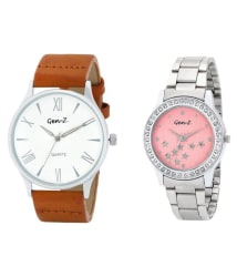 Gen-Z Combo Of Two Silver Metallic Pink Dial Analog Rakhi Special Watches