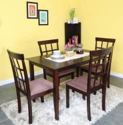 @home by Nilkamal Trivia Solid Wood 4 Seater Dining Set(Finish Color - Dark Cappucino)