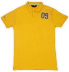 Provogue Boys Solid Cotton Blend T Shirt Yellow, Pack of 1