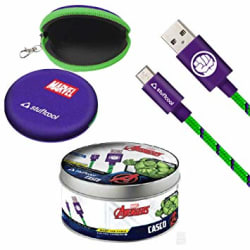 Stuffcool Marvel Hulk 2.4 Amp Micro USB Cable Data Sync and Fast Charging Nylon Braided Cable (1 Meter)