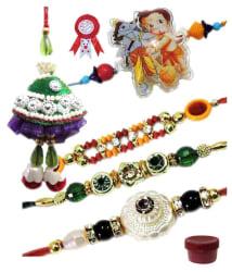 Designer Rakhi Combo Pack (Lumba Rakhi, Stone Beads Rakhi, Cartoon Character Rakhi)/Traditional Designer Rakhi For Brothers - Set of 5