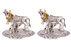 KDT Kamdhenu Cow Aluminium Idol (13 x 10 cms) - Pack of 2