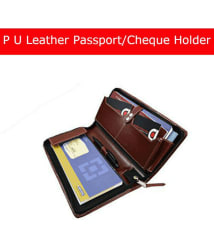 Coi C0406 PU Leather Brown Cheque Book & Passport Holder Passport Cover