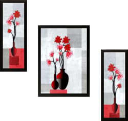 SAF Set of 3 Flowers Digital Reprint Painting (13.5 inch x 22 inch)