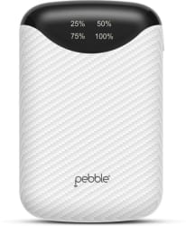 Pebble 10000 mAh Power Bank (PPC100BUC(N), Smallest 10,000 mAh Powerbank with 2.1 A output and digital display) White, Lithium-ion