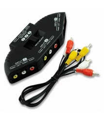 Fox Micro 3 Way Audio Video RCA Composite Splitter + Cable