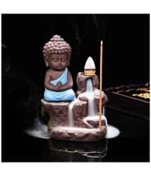 Craftam Monk Buddha statue Smoke Backflow Cone Incense Holder Showpiece for diwali decoratives, diwali gift item
