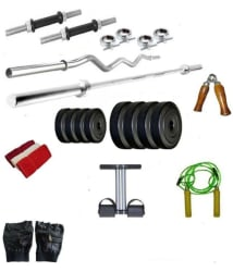 Dreamfit 40 Kg Home Gym Combo with Straight and Curl Rods, Dumbbell Rods, Gloves, Tummy Trimmer and Accessories
