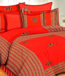 Uniqchoice 144 TC Cotton Double King Printed Bedsheet(Red)