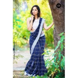 Indian Beauty Women s Linen Saree With Blouse Piece