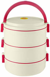 Cello Senate Plastic Lunch Box Set, Set of 3, Red