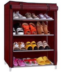 PINDIA Synthetic 4 Tier Shoe Rack Red