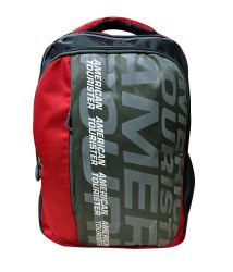 Branded Red Polyester College Bags Backpacks- 28 Ltrs