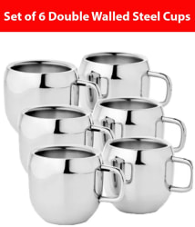 KC Stainless Steel Double Walled Coffee Tea Cup 6 Pcs Set