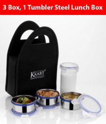 Kkart Multicolour Stainless Steel Clip Lock Lunch Box Set with 3 Containers and 1 Tumbler