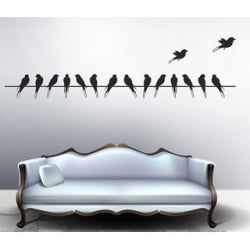 Walltola Pvc Black Beautiful Long Tail Birds On Wire Wall Sticker (59X12 Inch) (No. Of Pieces 1)