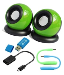 Anwesha s 5 in 1 Combo of Mini Speakers for Laptop, PC, Mobiles & more With Card Reader, Otg Cable and Two set of Usb Led