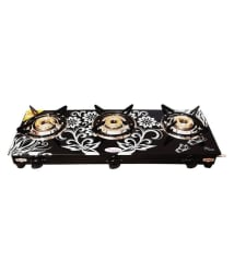 Fogger Digital Design with Toughened Glass 3 Burner Manual Gas Stove