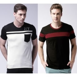 Stylogue Men s Cotton Round Neck T-Shirt (White-Black, Black-Maroon) Pack Of 2