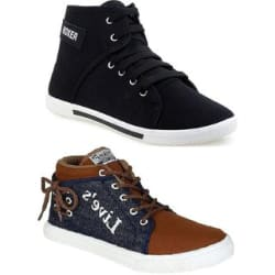 Clymb Liv Brown+Boxer Black Combo Pack Of 2 Sneakers Shoes For Men s In Various Sizes