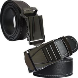Sunshopping Formal Brown and Black Leather Clamp Buckle Belt For Men (Pack of 2)