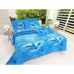 Anu Fashion Blue Whale Double Bedsheet + 2 Pillow Cover Pack of 1