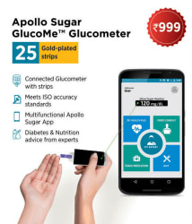 Apollo Sugar Glucome Smart Glucometer with 25 test strips & Diabetes Support Services-6 Months