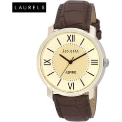 Laurels Aspire Ivory Round Dial Brown Leather Strap Analog Watch for Men - Lo-Asp-101
