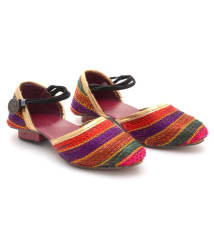Little Palz Stripes Design Ethnic Sandal - Multicolor